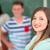 piękna · uczennica · stwarzające · uśmiechnięty · klasie · uśmiech - zdjęcia stock © zurijeta