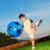 bal · horizontaal · afbeelding · voetbal · voetballer · blauwe · hemel - stockfoto © zurijeta