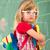 mały · blond · uczennica · plecak · worek · portret - zdjęcia stock © zurijeta