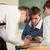 diákok · együtt · dolgozni · három · fiatal · osztályterem · oktatás - stock fotó © zurijeta