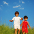 Happy unforgetable childhood on green meadow against blue sky stock photo © zurijeta