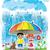 rainy day children with dog and cat hiding under umbrella stock photo © zuzuan
